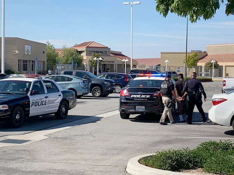 Officer attacked, four Hemet teens arrested during middle school melee