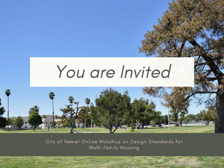 City of Hemet Online Workshop on Design Standards for Multi-family Housing