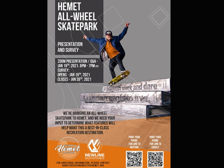 Hemet to Hold Virtual Community Meetings to Plan Community Skate Park